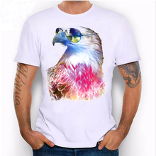 LEQEMAO 2017 New summer Colorful Eagle cool eyes Design T Shirt men's short sleeve owl print Tops male hipster tee shirt(China)