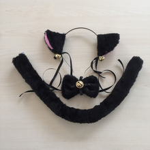 LOVELIVE Cospaly Cute Kawail Cartoon Cat Tail Tie And Cat Ears Bow With Bell Cat Neko Hairbands Ears Set Maid Lolita Plush FX11(China)