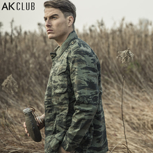 AK CLUB Brand Field Jacket Military Style M65 Tiger Camouflage Field Army Jacket CAMO Battle Outwear Men Jacket Cotton 1504093(China)
