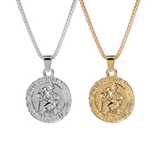 Jesus christ chain Necklace Saint christopher protect us necklaces Round Silver Gold color Christ Jewelry Gift For Christians