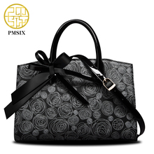 PMSIX 2017 New Women Leather Bag Cattle Split Leather Bow Floral Printing Retro Tote Bag Female Crossbody Handbag P120006