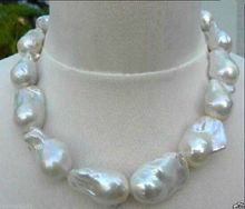 "> REAL HUGE AAA SOUTH SEA WHITE BAROQUE PEARL NECKLACE 18"" 14KGP 18-23mm"