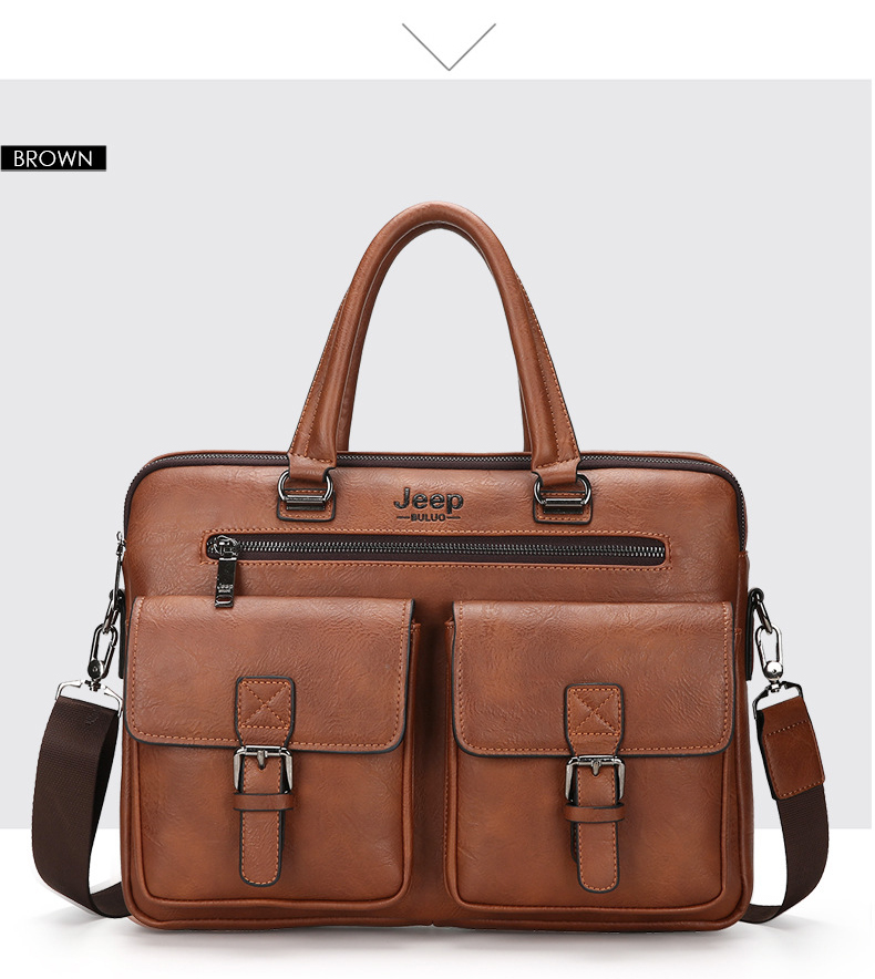 a leather briefcase with two large pockets at the front