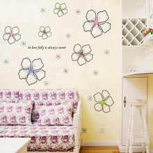 White Flowers Stickers Wall Sticker Wall Art Home Decoration Accessories Bedroom Decor Wall Stickers Home Decor Living Room(China)