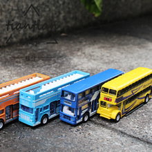 Alloy car model double decker bus Children's toys Decoration Interior decoration Metal material different colors(China)