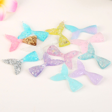 20*43mm 20pcs Diy Craft Hair Accessory Mixed Flat Back Resin Mermaid glitter Cabochon for diy decoration(China)