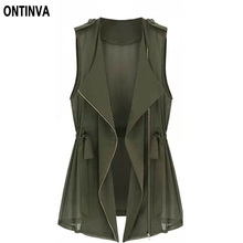 5XL 4XL 3XL Plus Size Women Tops 2017 Summer Style with Zipper Army Green Jacket Causal Cardigan Girls Vest  Femininas Veste