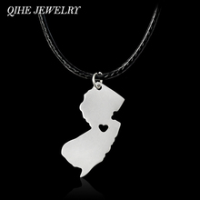 QIHE JEWELRY Silver Color USA State I Heart Necklace New Jersey,Minnesota,Florida,Ohio,,,USA States Map Necklace Jewelry