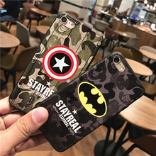 Super Hero 3D Emboss Soft TPU Luxury Silicone Phone Cases For iPhone 7 Plus Back Cover Case Batman Iron Man Captain America