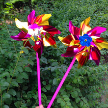 2017 The Fairy Wind Spinners 5pcs/free Shipping Plastic Color Windmill Decoration Plaza Outdoor Sales Kids Toys Sports(China)