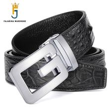 FAJARINA Brand Name Men's High-grade Crocodile Pattern 100% Cowhide Leather Belt Letter Smooth Belts Men Freeshipping LUFJ585(China)