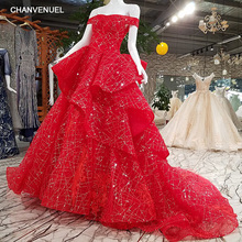 LS39901#vestido de fiesta sweetheart off the shoulder ball gown sweep train lace up red evening dress shopping online real photo(China)