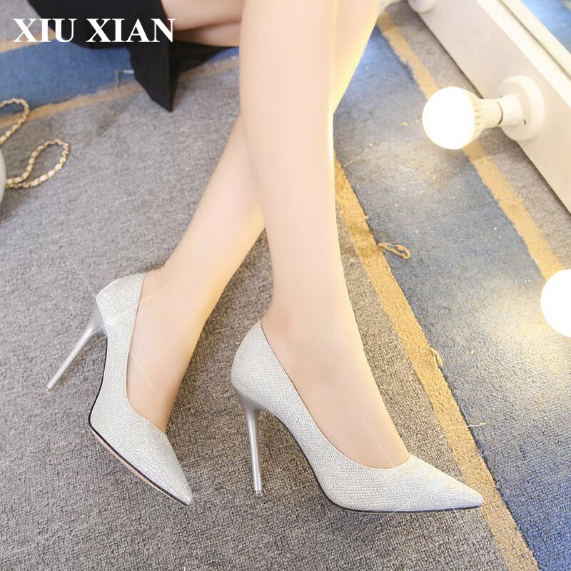 European Women Shoes Pointed Toe High Heel Pumps 2017 Summer Sexy Fashion Ladies Pumps Party Wedding Shoes 10CM Sequined L-XZ655<br>