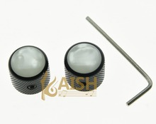 2x Set Screw Pearl Top Black Guitar Dome Knobs for Tele Telecaster Bass Knob