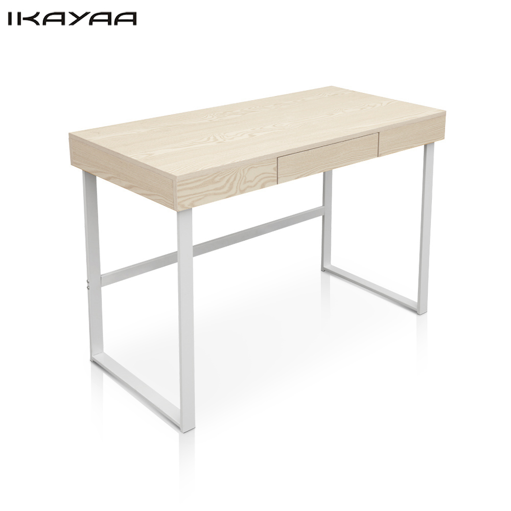 iKayaa Modern Metal Frame Computer Desk OfficeTable with Drawer Study Writing Desk Office Furniture US FR DE Stock(China)