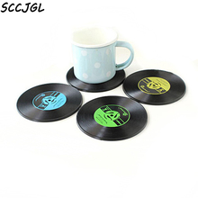 1PC Home Table Cup Mat Creative Decor Coffee Drink Placemat for table Spinning Retro Vinyl CD Record Drinks Coasters
