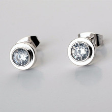 Fashion Famous Brand Jewelry Design Single Crystal Love Stud Earring IP Vacuum Plating Titanium Stainless Steel Couple Earrings(China)