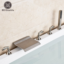 Wholesale and Retail Bathroom Waterfall Bath Spout Tub Sink Faucet 3 Handles 5 Holes Bathtub Mixer Taps(China)
