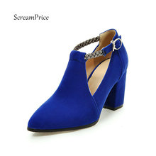 Women Faux Suede High Heel Pumps Fashion Buckle Party Square Heel Comfortable Spring Autumn Shoes Blue Black Red