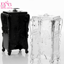 BNG 1pc Nail Cotton Pad Holder Case Black/Clear Beauty Accessories Nail Polish Personal Care Salon Usage Nail Wipes Container