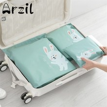 Storage Bags 3Pcs/Set Travel Organizer Zipper Waterproof Cartoon Squirrel Rabbit Fox Duck Animal Design Home Dress Storage Bags
