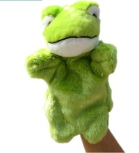 HOT 26cm 1pc green frog cute story pacify hand puppet plush toy baby sleep game(China)