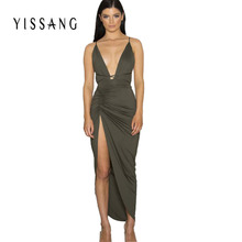 Buy Women high Split Dress 2015 sleeveless backless deep V neck long slit party Club dresses asymmetrical Clothing summer style for $15.19 in AliExpress store