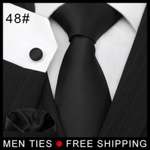 Pure Color Black Men tie sets WOVEN JACQUARD Leisure Necktie Men's Tie Cufflinks + handkerchief New