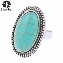2017 Fashion Green Stone Rings Antique Color Ring With Drop Round Squares Style Mixed Design Big Rings For Women New