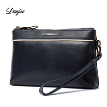 DANJUE Genuine leather men day clutches bag brand high quality handy bag new business fashion men big wallet purse