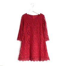 Big Girls Allover Flower Lace Dress Mom&Girl Clothes Children Summer Half Sleeve Cotton Princess Clothing White Red Beige Pink