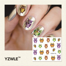 YZWLE 1 Pc Cute Owl Printing Water Transfer Tips Stickers For Nail Decorations