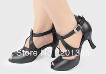 Women 3inch Heel Black Leather Ballroom Shoes Dance Shoes Latin SALSA Tango Shoes Jive Dance Shoes Size 34,35,36,37,38,39,40,41,(China)