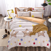 4pcs star printed duvet cover queen size washed cotton bedding set geometric smile bed sheet kids adult home textile orange(China)