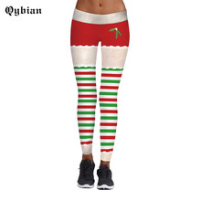Buy Qybian Leggings Women Workout Autumn Fitness Christmas Tree Stripes 3D Print Leggins Women Santa Claus Pants for $8.54 in AliExpress store