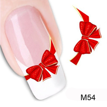 1Pcs Bowknot Water Transfer Nail Sticker Christmas Nail Sticker Art Beauty Nail Art Decorations Nagel Stickers Water Decals