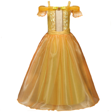 2017 Girls Cartoon Fancy Dress Kids Yellow Off-Shoulder Princess Party Dress Beauty and the Beast Belle Cosplay Kids Long Dress