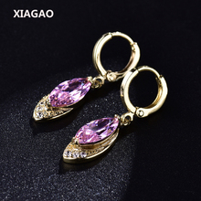 XIAGAO Trendy Long Oval Drop Earrings for Women  Gold-color Dangle Piercing Earring Pink CZ Zircon Crystal Wedding Jewelry
