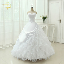 Classic Style Vestidos De Noiva A Line Robe De Mariage Strapless Applique Bridal Gown Wedding Dress 2018 Chapel Train YN0120(China)