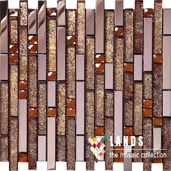 Crystal Glass Rose gold Metal Mosaic Tile,Ceiling Wall painting,Home decor tiles,Kithchen backsplash Shower wall tiles,SA047-15<br>