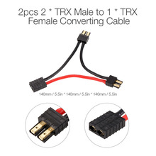 2pcs TRX Serial 2 Battery Harness 2 Traxxas Male to 1 TRX Female Series Adapter Cable Plug for Traxxas RC Car Accessories(China)