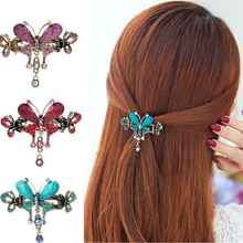 LNRRABC Fashion  Vintage Elegant Ethnic Style Butterfly Flower Hairpins Rhinestone Barrette Hair Clip Hair Accessories