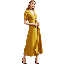 2017 Sexy summer dress lady equipment high split casual long dress solid lady retro dress with belt AYF260(China)