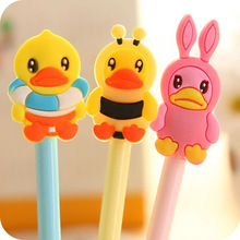 6pcs/lot Cute animals gel pen Small yellow duck gel pens for writing Kawaii stationery office school supplies(China)
