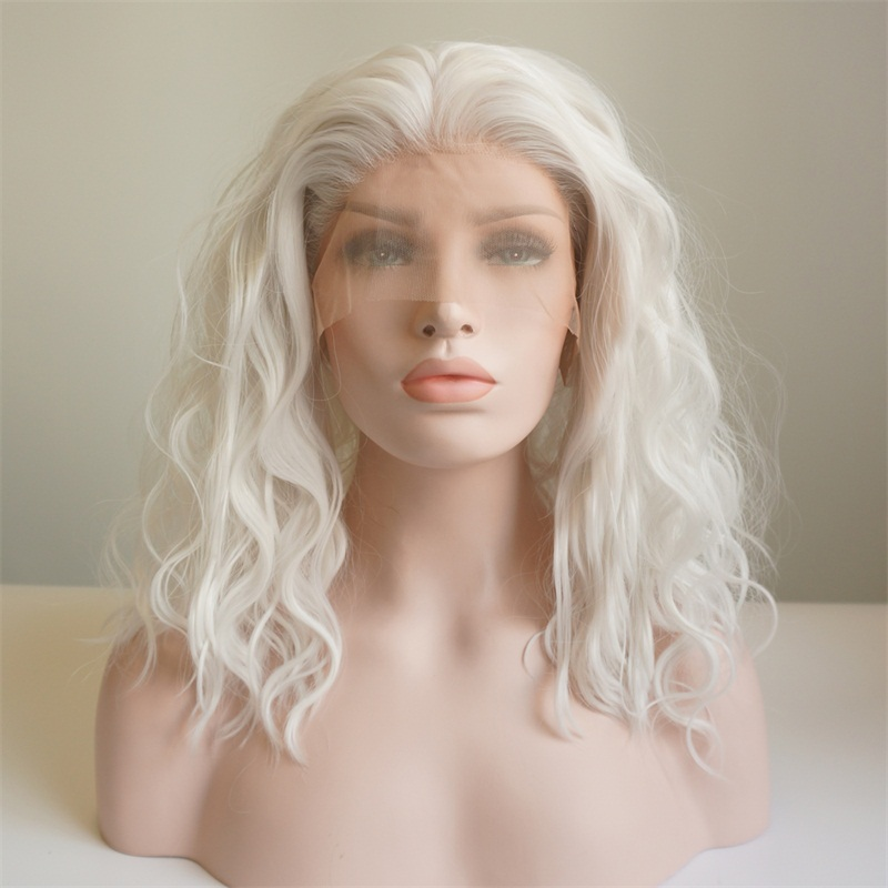 Cosplaysalon Wig-Cap Short Lace-Front Curly Heat-Resistant Daily White Synthetic Lady title=