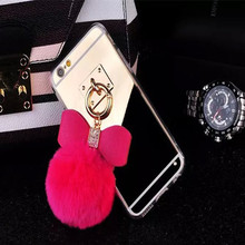 Golden Mirror Hair Case For Iphone 7 7 Plus Plush Phone Housing Tpu Mirror Back Cover With Real Rex Pompom Bow Trimming Masks
