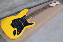 Factory Wholesale Yellow Body STrat Electric Guitar with 3S Pickups,black Pickguard,black Hardwares,Offer Customized-17-11(China)