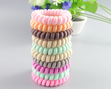 Hot sale Fabric Elastic Hair Rubber Band For Girl Telephone Wire Line Neon Color Hair Tie Scrunchy Ponytail Holder Accessories