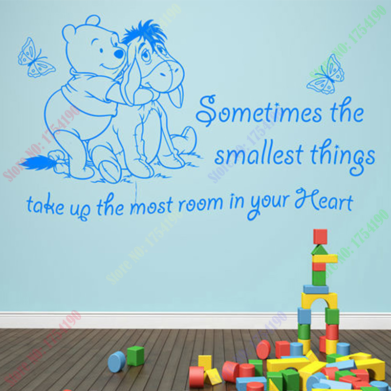 New Vinyl Classic WINNIE THE POOH WALL ART QUOTE STICKER   GIRL BOY KIDS  NURSERY LOVE Part 67