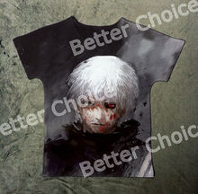 Track Ship+New Vintage Retro T-shirt Top Tee Cool Tokyo Ghoul White Hair Ghost Bloody Red Eye Face 1074